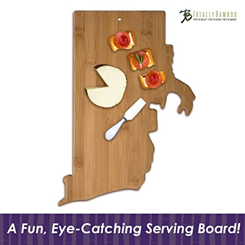 Totally Bamboo State Cutting & Serving Board, Rhode Island, 100% Bamboo Board for Cooking and Entertaining