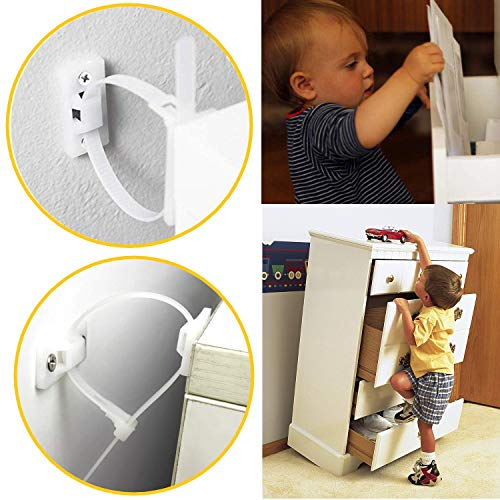 Baby Furniture Straps (12packs) Baby Proofing Anti Tip Furniture Anchor Kit,
