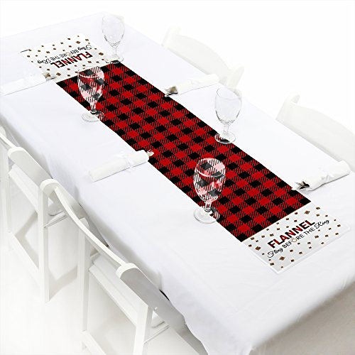 Flannel Fling Before The Ring - Petite Buffalo Plaid Bachelorette Party Paper Table Runner - 12'' x 60'' by Big Dot of Happiness