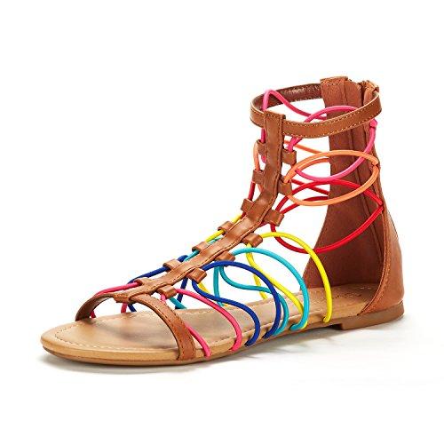 DREAM PAIRS Women's Roman_03 TAN/Multi Fashion Gladiator Design Ankle Strap Flat Sandals Size 5.5 M US