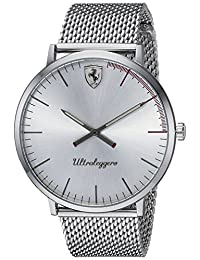 Ferrari Men's 'ULTRALEGGERO ULTRA SLIM' Quartz Stainless Steel Casual Watch, Color:Silver-Toned (Model: 0830407)