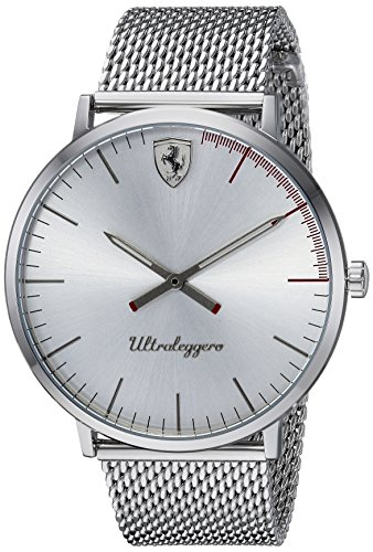 Scuderia-Ferrari-Mens-ULTRALEGGERO-ULTRA-SLIM-Quartz-Stainless-Steel-Casual-Watch-ColorSilver-Toned-Model-0830407