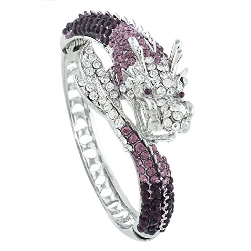 - EVER FAITH Women's Austrian Crystal Cool Animal Fly Dragon Bangle Bracelet Purple Silver-Tone