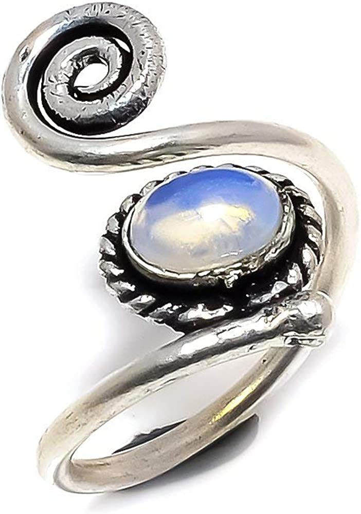 Handmade Jewelry Ethnic Wear White Opalite Silver Plated 4 Grams Ring 5.5 US Sizeable