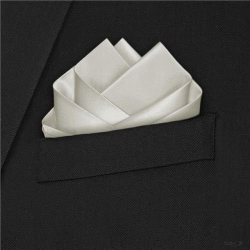 Trimming Shop Men's Satin Handkerchief For -Italian Square Pocket Hanky 9'' (23Cm) Ivory by Trimming Shop (Image #2)