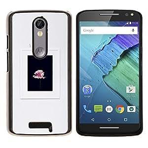 Marco Gris Negro Rosa Pétalo Primavera- Metal de aluminio y de plástico duro Caja del teléfono - Negro - Motorola Droid Turbo 2 / Moto X Force