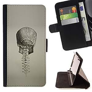 Momo Phone Case / Flip Funda de Cuero Case Cover - Cráneo profunda espina dorsal de la vendimia de la muerte del motorista - Motorola Moto E ( 2nd Generation )
