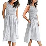Zlolia Women's Striped Pocket Vest Dresses Sleeveless Round Neck Patchwork Dress Summer Casual Beach Skirt