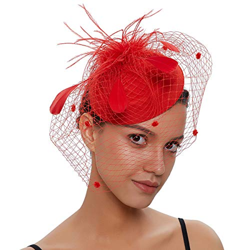 Women Fascinators Hats 20s 50s Vintage Pillbox with Veil for Girls Derby Fancy Headwear Cocktail Tea Party Costume