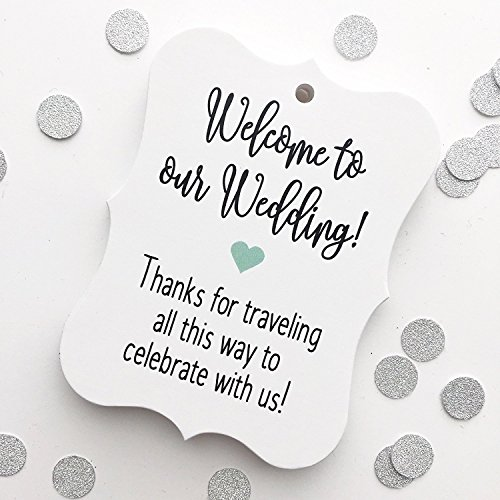 24 ct Hotel Welcome Bag Tags, Welcome Wedding Tags, Destination Wedding Tags (EC-369-MT)