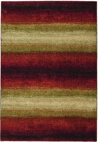 Orian Rugs Plush Stripes Skyline Red Runner 2 3 x 8