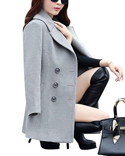 Chic Coat Classique Double Gris Longue Bouton Casuel Manteau Femmes FqOw55