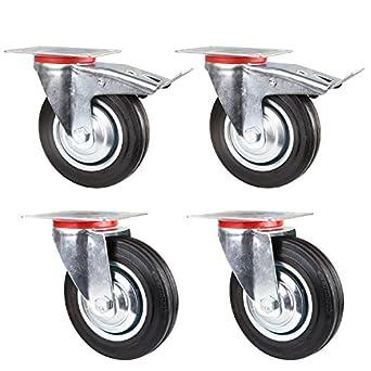 FIXKIT Lote de 4pcs 160MM Ruedas Giratorias con Freno (2x Estándar, 2x con Freno) Ruedas de Transporte para Carritos Muebles Carga de 150 KG: Amazon.es: ...