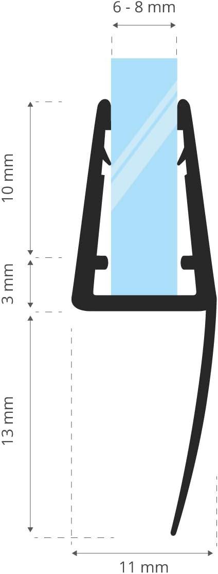 STEIGNER 140 cm Junta Repuesto Para el Vidrio 6mm//7mm//8mm Junta Vierteaguas de Ducha UK55 Protecci/ón Chorros Mamparas Ducha