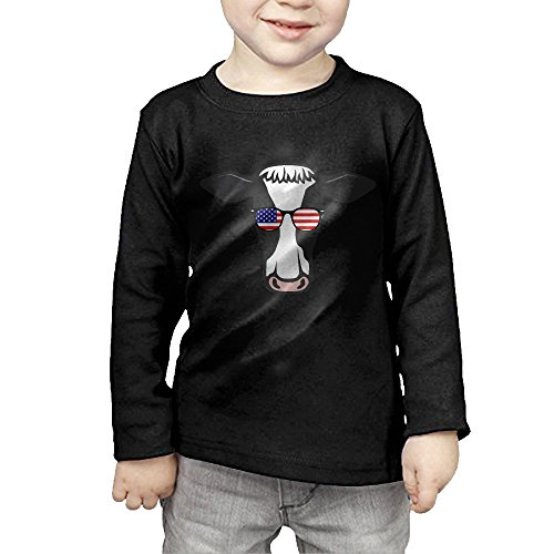 (Cow American Glasses Cool Kids Children Unisex Long Sleeve Cotton Crew Neck T-Shirt Tee)
