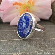 92.5 Sterling Silver Custome Handmade 5 Ct Lapis Lazuli Ring For Men & Women