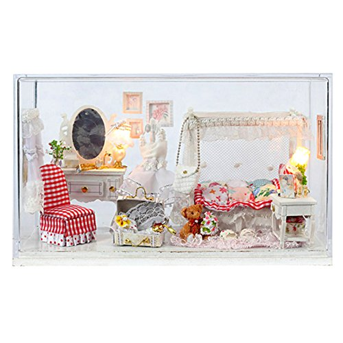 Famulei Wooden Dollhouse with Furnitures DIY Assembling House Miniature Crafts Toys for Children and Teens LED Light Handmade Dollhouse For Gift, Plus Dust Proof,Bride Wedding Room