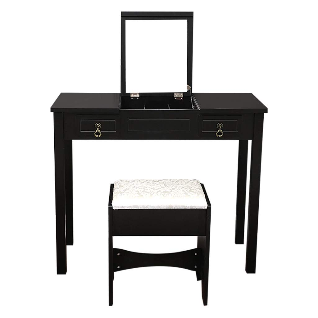 Vanity Table with Flip Top Mirror Makeup Dressing Table Writing Desk with Cushioning Makeup Stool Set, 2 Drawers 3 Removable Organizers Easy Assembly