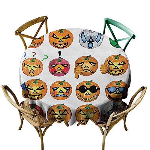 Zmstroy Washable Table Cloth Halloween Carved Pumpkin with