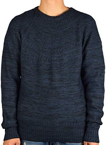 アクリル 同色エスニック ジャカード クルーネックセーター 8411-508