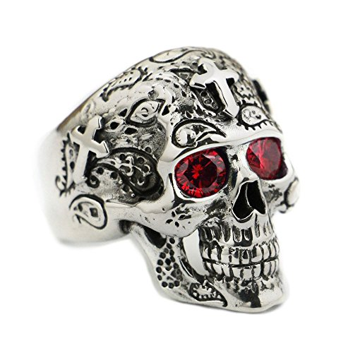 LISNION 925 Sterling Silver High Detail Skull Cross Red CZ Eyes Mens Biker Ring TA58 (10.5) - Cross Sterling Silver Biker Ring
