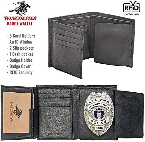 Winchester Police Badge Wallet Bifold RFID Blocking Full Grain Genuine Leather