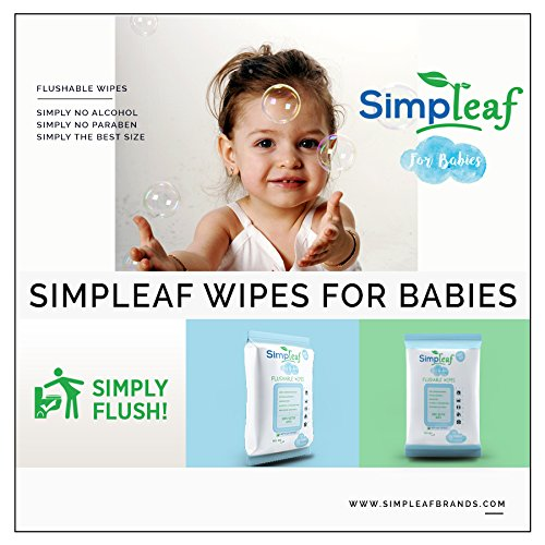 Simpleaf for Babies Flushable Wipes (Travel Pack): Eco- Friendly, Thick and Effective, Paraben and Alcohol Free, Hypoallergenic and Safe for Sensitive Skin, Unscented, Soothing Aloe Vera (6 Packs) by Simpleaf (Image #3)