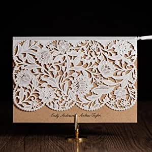 100x WISHMADE Laser Cut Rustic Wedding Invitations Vintage White Birthday Cards Engagement Marriage Invites For Engagement Bridal Shower Baby Shower Birthday Party Favor Supplies