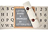 Premium 10x10 Letter Board with Letter Organizer - Changeable Gray Felt Vintage Letter Board Sign by Letter&Felt