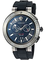 Versace Mens V-EXTREME PRO Swiss Quartz Stainless Steel and Silicone Casual Watch, Color:Black (Model: VCN020017)