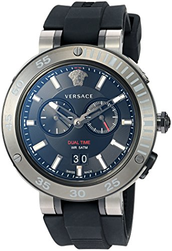 Versace Men's 'V-EXTREME PRO' Swiss Quartz Stainless Steel and Silicone Casual Watch, Color Black (Model: VCN020017)