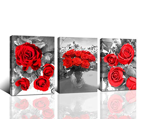 (Baisuwallart-Canvas Wall Art Red Rose 3 Panels Flowers Pictures Canvas Prints Black and White Painting Modern Simple Life Florals Framed Ready to Hang for Bathroom Kitchen Bedroom Office Wall DÃcor)