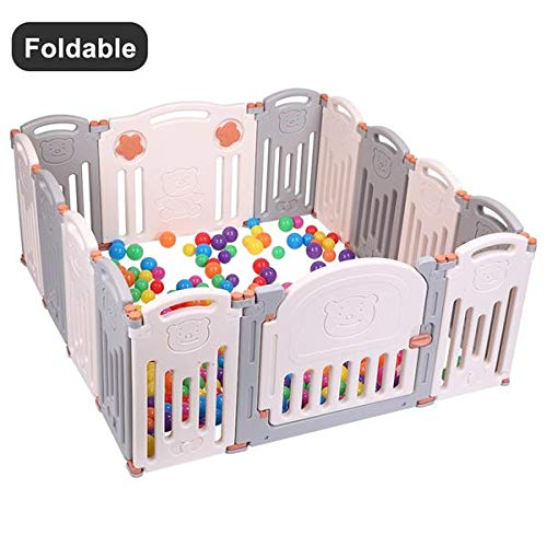 MTFY Foldabe Baby Playpen, 14 Panel Baby Kids Safety Play Yard Activity Center for 6 Months – 3 Years Old at Home, Indoor Outdoor, Free Installation Pink Grey