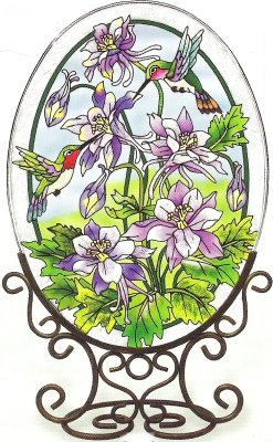 Amia 5904 Oval Suncatcher with Hummingbird Design, Hand Painted Glass, 6-1/2-Inch by 9-Inch