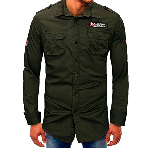 Pervobs Long Sleeve Shirts, Big Promotion! Men Basic Long-Sleeve Button Down Shirt Casual Pocket Solid Formal Blouse Tee Shirt (M, Army Green) by Pervobs Mens Long Sleeve Shirts