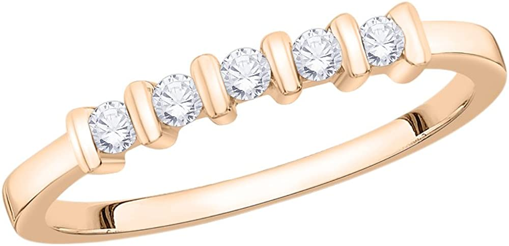 Diamond Wedding Band in 10K Pink Gold Size-7.5 G-H,I2-I3 1//6 cttw,