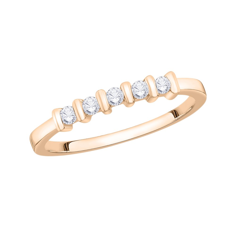 G-H,I2-I3 Size-4.25 Diamond Wedding Band in 10K Pink Gold 1//6 cttw,