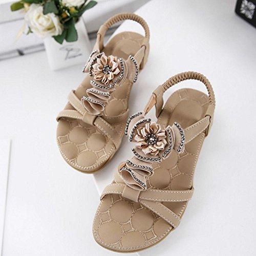 TAOFFEN Mujer Sandalias Moda punta abierta Slingback Correa Elastica Zapatos De Flor Albaricoque