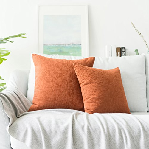 (Kevin Textile Decor Solid Decorative Toss Pillow Case Striped Jacquard Cushion Cover with Hidden Zipper for Couch/Sofa/Car, 20x20-inch (50x50cm), 2 Pieces, Burnt Brick)
