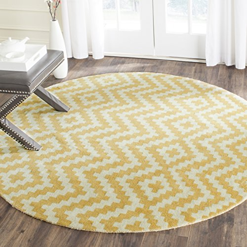 - Safavieh Cambridge Collection CAM324U Handcrafted Moroccan Geometric Ivory and Gold Premium Wool Round Area Rug (6' Diameter)