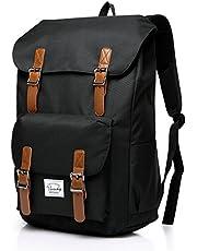 Backpack for Men,Vaschy Vintage School Bag Casual Lightweight Camping Rucksack Bookbag with15.6in Laptop Sleeve Black