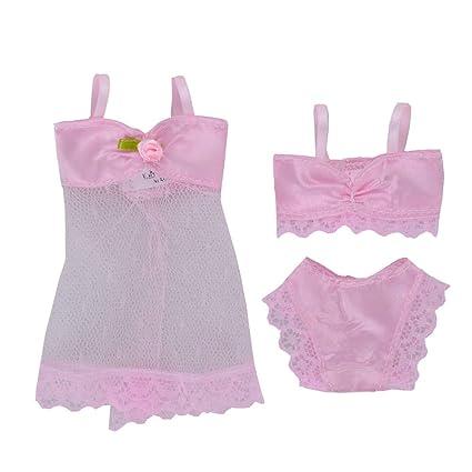 Amazon.es: E-TING 6 Conjuntos de Moda Ropa de Dormir Sexy Pijamas Ropa Interior Ropa Interior Sujetador Vestido de Encaje Ropa para muñeca de niña de ...