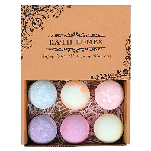 6 Pack Organic Natural Bath Bombs Gift Set for Women Girlfriend Mom and Kids