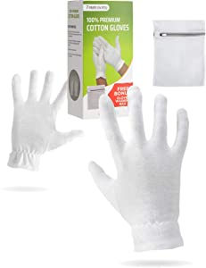 Moisturizing Gloves OverNight Bedtime Cotton   Cosmetic Inspection Premium Cloth Quality   Eczema Dry Sensitive Irritated Skin Spa Therapy Secure Wristband