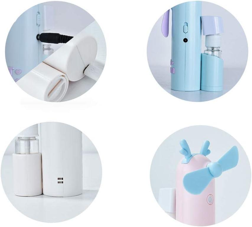 Color : Purple, Design : Antlers USB Charging Fan Portable Atomizing Fan Handheld Fan Mini Fan Portable Atomizing Fan Personal Fan for Indoor and Outdoor Travel