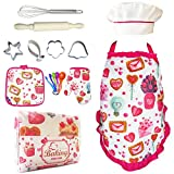 Kids Play Aprons Set for Little Girls,Little Chef Apron Set with Cupcake and Heart Apron,Chef Hat,Oven Mitt for Toddler Chef Role Playing Costumes,Ages 3+(Chef Set)