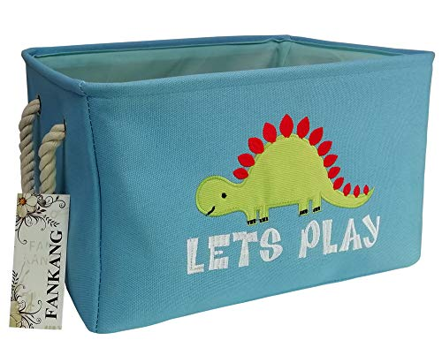 Rectangular Fabric Storage Bin Toy Box Baby Laundry Basket with Flamingo Prints for Kids Toys and Nursery Storage, Baby Hamper, Book Bag, Animals Storage Toy Boxes, Gift Baskets (Single Dinosaur)