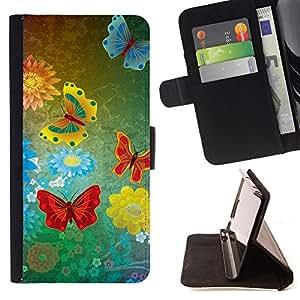 For LG OPTIMUS L90 - abstract grunge butterflies /Funda de piel cubierta de la carpeta Foilo con cierre magn???¡¯????tico/ - Super Marley Shop -