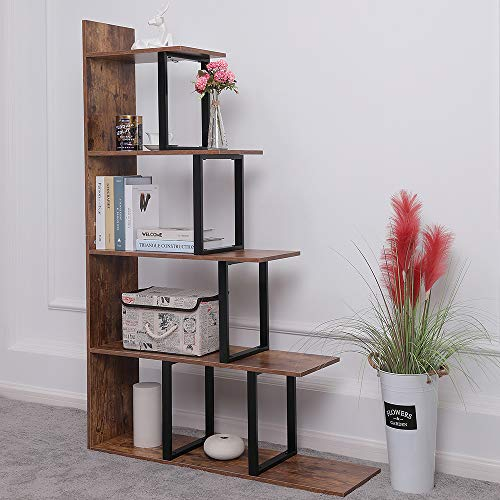 Iwell Wooden 5-Tier Bookshelf, 40.7 L x 11.8 W x 62.9 H Large Ladder Shelf, Corner Display Shelves for Living Room, Storage Rack in Home Office Hallway, Rustic Brown SJX002X