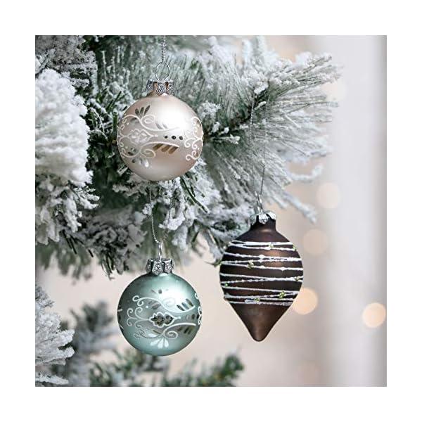 Valery Madelyn Palle di Natale Vetro Addobbi Natalizi Set, 24 Pezzi 6-10cm White, Brown, Silver And Light Green Palline di Natale Decoration for Addobbi Natalizi per Albero 5 spesavip
